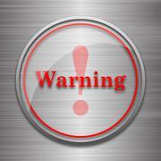 Stock Illustration of Warning icon. Internet button on metallic background..