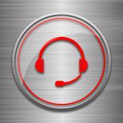 Stock Illustration of Headphones icon. Internet button on metallic background..