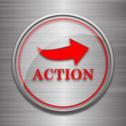 Action icon. Internet button on metallic background.. - stock illustration