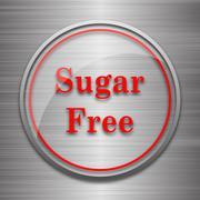 Stock Illustration of Sugar free icon. Internet button on metallic background..