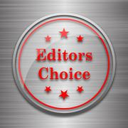 Editors choice icon. Internet button on metallic background.. - stock illustration