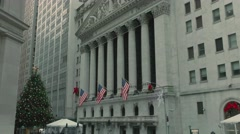 New York Stock Exchange and Wall Street at Christmas - stock footage