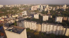 Aerial urban view. Residential area in Kiev city. Flying above the city blocks Stock Footage