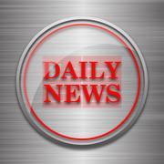 Daily news icon. Internet button on metallic background.. Piirros