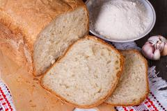 Homemade white bread, flour, eggs and milk Stock Photos