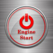 Stock Illustration of Engine start icon. Internet button on metallic background..