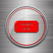 Admin one ticket icon. Internet button on metallic background.. Stock Illustration