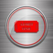Admin one ticket icon. Internet button on metallic background.. - stock illustration