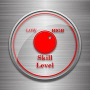 Stock Illustration of Skill level icon. Internet button on metallic background..