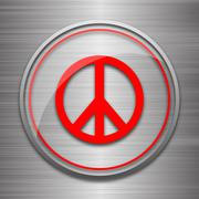 Stock Illustration of Peace icon. Internet button on metallic background..