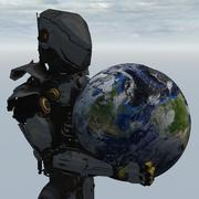Robot With World In His Hands - stock illustration
