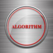 Algorithm icon. Internet button on metallic background.. Stock Illustration