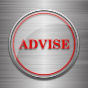 Stock Illustration of Advise icon. Internet button on metallic background..