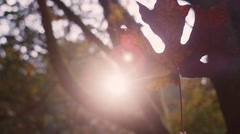 A large autumn leaf being waved in the air, with bokeh Stock Footage