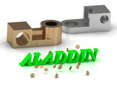 ALADDIN - words of color letters and silver details and bronze details on whi Piirros