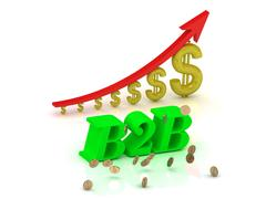 B2B- bright color letters and graphic growing dollars and red arrow on a whit Stock Illustration