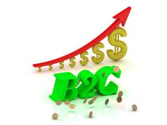 B2C- bright color letters and graphic growing dollars and red arrow on a whit - stock illustration