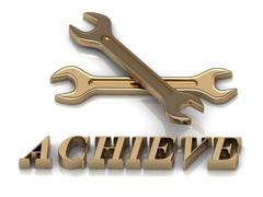 ACHIEVE- inscription of metal letters and 2 keys on white background Stock Illustration