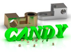 CANDY - words of color letters and silver details and bronze details on white Stock Illustration