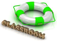 CLASSROOM- bright gold letters and color life buoy on a white background - stock illustration