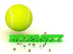 DIVERSITY- bright green letters, tennis ball, gold money on white background Stock Illustration