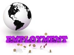 EMPLOYMENT- bright color letters, black and white Earth on a white background Stock Illustration