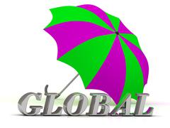 GLOBAL- inscription of silver letters and umbrella on white background.. Stock Illustration