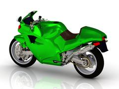 Motorbike green color Bright beautiful type on white background from the side - stock illustration