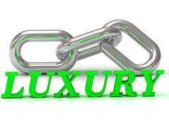 LUXURY- inscription of color letters and Silver chain of the section on white - stock illustration