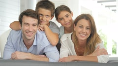 Portrait of happy family of four Stock Footage