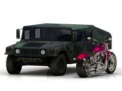 Battle ARMY howitzer jeep and motobike Isolated on white background - stock illustration