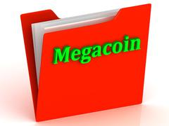 Megacoin- bright green letters on red paperwork folder witch paper list on a - stock illustration