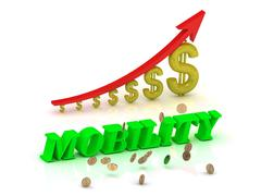MOBILITY- bright color letters and graphic growing dollars and red arrow on a Stock Illustration