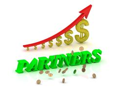 PARTNERS- bright color letters and graphic growing dollars and red arrow on a - stock illustration