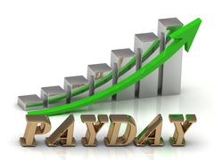 PAYDAY- inscription of gold letters and Graphic growth and gold arrows on whi - stock illustration