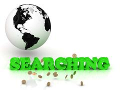 SEARCHING- bright color letters, black and white Earth on a white background Stock Illustration