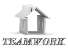 TEAMWORK- inscription of silver letters and white house on white background Stock Illustration