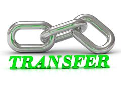 TRANSFER- inscription of color letters and Silver chain of the section on whi Stock Illustration