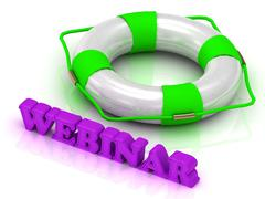 WEBINAR- bright gold letters and color life buoy on a white background - stock illustration