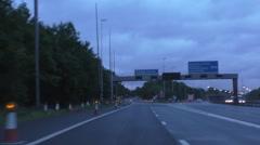 Motorway slip road lane closed for repairs Stock Footage