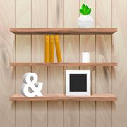 Book shelves in room interior with decor - stock illustration