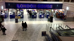 One side of London drugs store inside shopping mall Stock Footage