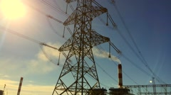 Electricity power station at a sunset Stock Footage