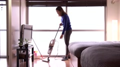 Housewife Maid Asian Housemaid Doing Chores Working Cleaning Bedroom Floor - stock footage
