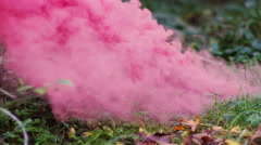 Beautiful girl in a forest walks up to a color smoke grenade on the ground Stock Footage