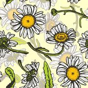 Beautiful vintage background with white daisies seamless patern on yellow Stock Illustration
