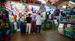 Vietnamese souvenirs at the Famous Ben Thanh Market Stock Footage