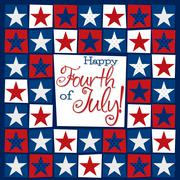 Stock Illustration of Mosaic funky Independence Day card in vector format.