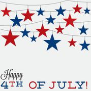 String of stars Independence Day card in vector format. - stock illustration