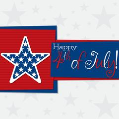 Square 4th of July Card in vector format. - stock illustration